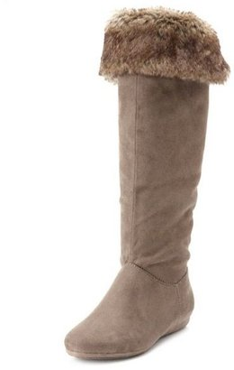 Charlotte Russe Sueded Fur-Trim Flat Boot