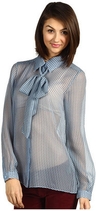 Tibi Mini Oriole Foulard Tie Neck Top