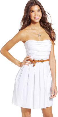 B. Darlin Juniors Dress, Strapless Belted A-Line