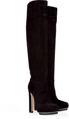 Le Silla Black Suede Over-the-Knee Platform Boots