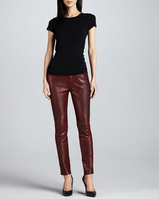 7 For All Mankind The Skinny Pieced Leather & Doubleknit Jeans, Plum