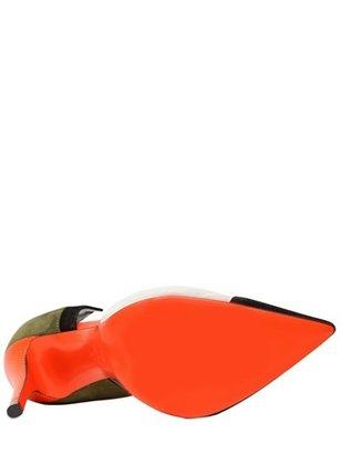 Fendi 105mm Suede & Leather D'orsay Pumps