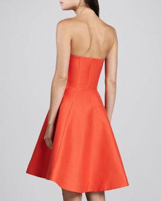 Halston Strapless Flared Taffeta Skirt