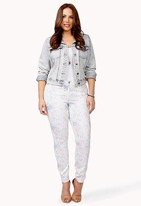 Forever 21 FOREVER 21+ Watercolor Splattered Skinny Jeans