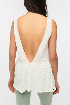 Urban Outfitters Lucca Couture Drop-Waist V-Back Peplum Tank Top