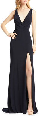 Mac Duggal V-Neck Sleeveless Jersey Column Gown with Thigh Slit