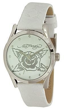 Ed Hardy Bliss Womens White Leather Watch