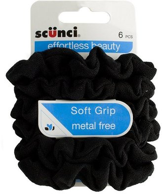 Scunci Black Soft Grip Srunchies - 6 pack