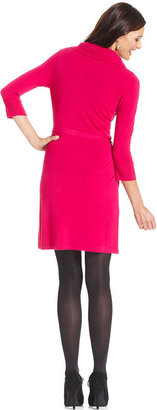 NY Collection Dress, Three-Quarter-Sleeve Belted Cowl-Neck Sweater Dress