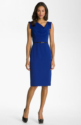 Black Halo 'Jackie' Belted Gabardine Sheath Dress