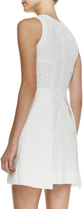 Victoria Beckham Denim Sleeveless Eyelet Overlap-Skirt Dress
