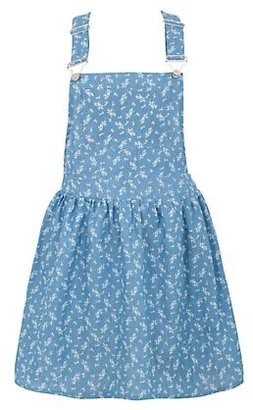 New Look Blue Denim Floral Print Pinafore Dress