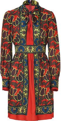 Anna Sui Brick Multi Bamboo Floral Print Dress