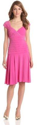 London Times Women's Cap Sleeve Drop Waist Dress