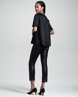 The Row Cropped Stretch-Leather Leggings
