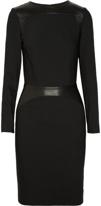 L'Agence Leather-detailed crepe dress