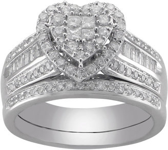 MODERN BRIDE Cherished Hearts 1 CT. T.W. Certified Diamond Heart Bridal Ring Set