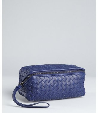 Bottega Veneta indigo intrecciato leather zip cosmetic bag