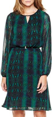 Liz Claiborne Belted Chiffon Snakeskin Dress