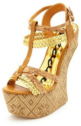 Charlotte Russe Strappy Floral Raffia Heel-Less Wedge