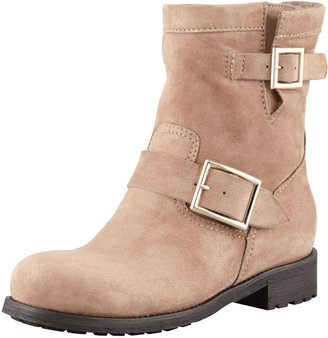 Jimmy Choo Youth Suede Biker Boot, Taupe