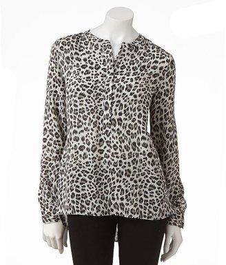 Apt. 9 cheetah chiffon blouse
