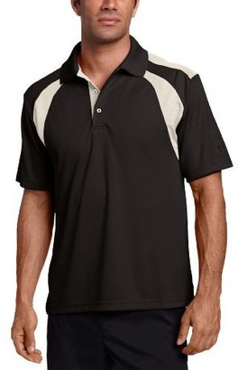 PGA TOUR Men's Short Sleeve Chest Shoulder Color Block Polo Shirt, Caviar, XX-Large