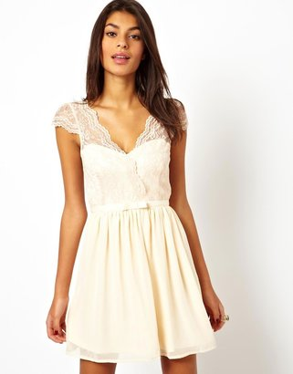 Asos Skater Dress With Scalloped Wrap