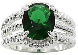 JCPenney Pure Silver Plated Green Crystal Ring