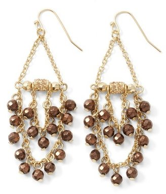White House Black Market Chocolate Bead Chandelier Earring