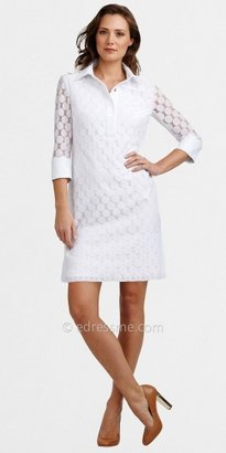 Adrianna Papell Long Sleeved Collar Eyelet Day Dresses