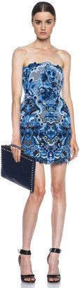 Valentino Tulip Skirt Bustier Crochet Knit Dress in Blue