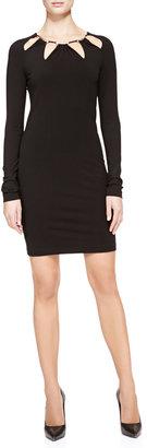 Roberto Cavalli Cutout-Neck Slim Jersey Dress