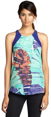 Aryn K teal cerulean and orange feather pattern trapeze cutout top