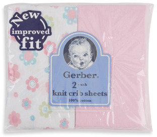 Gerber 2-Pack Pink Cotton Knit Fitted Crib Sheet