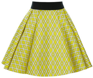 Fausto Puglisi Yellow Geometric Print Pleated Twill Skirt