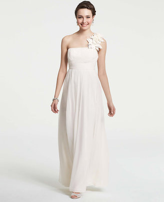 Ann Taylor Petite Silk Floral One Shoulder Wedding Dress