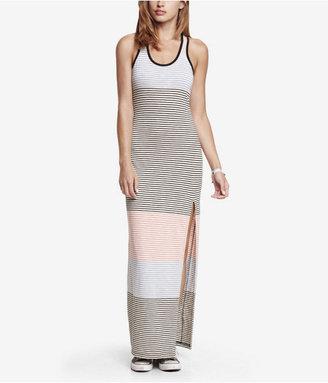 Express Striped Slub Knit Slit Front Maxi Dress