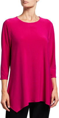 Caroline Rose Plus Size 3/4-Sleeve Stretch Knit Swing Top