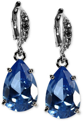 Givenchy Earrings, Silver-Tone Sapphire Cubic Zirconia Teardrop Earrings (3/4 ct. t.w.)