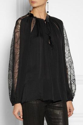 Emilio Pucci Lace-trimmed silk-satin blouse