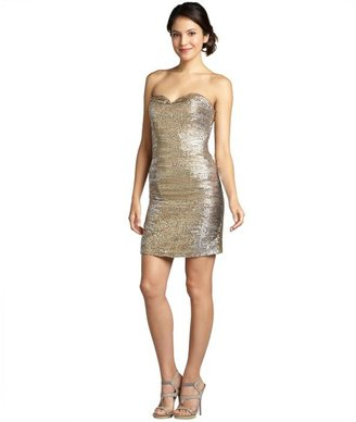 Wyatt lead-, silver-, and gold-tone sequined silk chiffon strapless dress