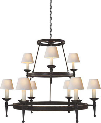 E.F. Chapman DORSET TWO-TIER CHANDELIER WITH TORCH ARM