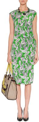 Etro Apple Green-Multi Printed Silk Dress