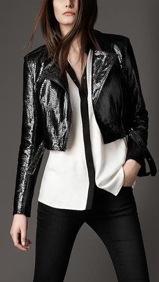 Burberry Cropped Snakeskin Biker Jacket