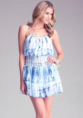 Bebe Tie Dye Smock Waist Dress