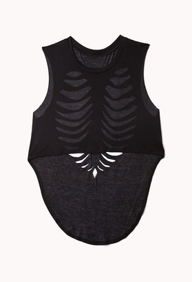 Forever 21 Rib Cage-Shredded Crop Top