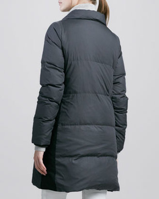 Vince Asymmetric Puffer Coat with Leather Trim