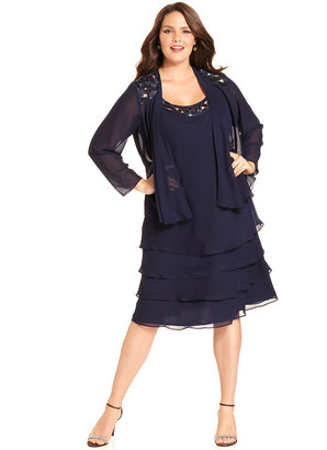 SL Fashions Plus Size Sleeveless Tiered Sequin Dress and Jacket
