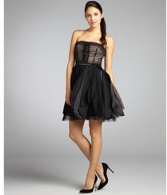 Vera Wang black silk chiffon structured lace and bead strapless party dress